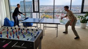 Table tennis at new Wealth Dynamix Vilnius Office