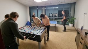 Table football at launch of new Wealth Dynamix Vilnius Office